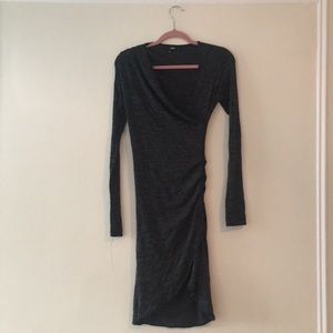 Heathered charcoal grey ruched Aritzia dress